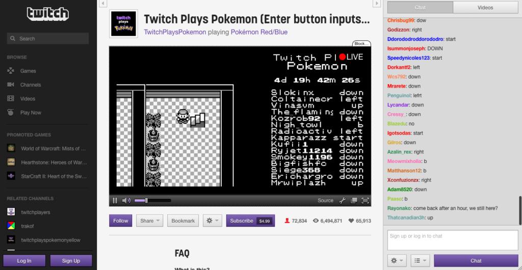 Kuva 1. Twitch-videopalvelussa pelattava Twitch Plays Pokémon hyvässä vauhdissa. Oikealla näkyvässä chatissa syötetyt komennot siirtyvät peliin ja näkyvät myös pelivideolla.