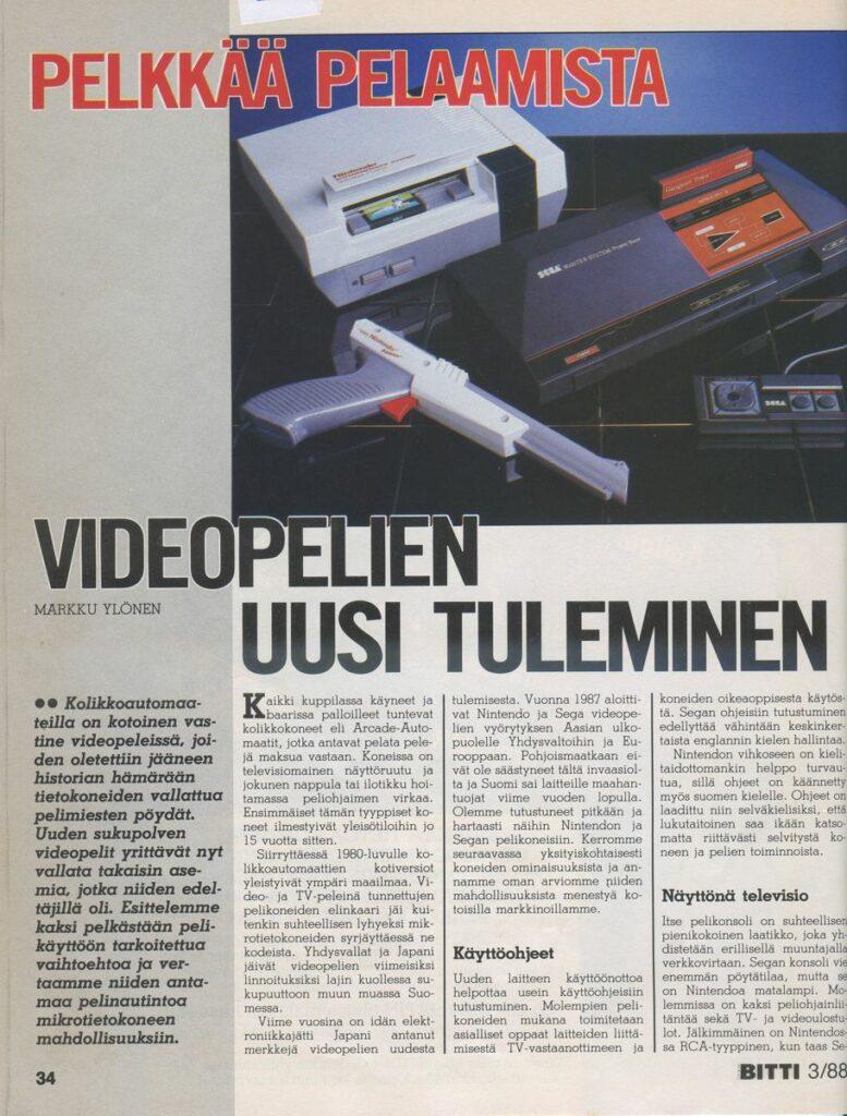 Kuva 3. Videopelien uusi tuleminen MikroBitti-lehden jutussa 3/1988, 34-37.