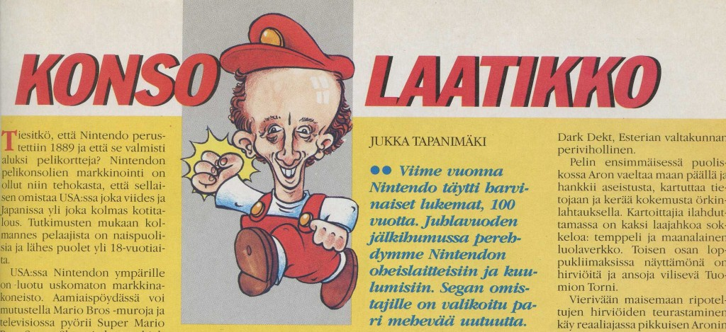 Kuva 6. Konsolaatikkopalstan tunnus viittasi ensin Super Mario Bros. -peliin, myöhemmin myös Segaan ja videopelaamiseen yleensä ja lopulta tunnuksesta poistettiin kokonaan Tapanimäen kuva. Kuvat MB 3/1990, 39; MB 9/1990, 48; MB 4/1992, 72.