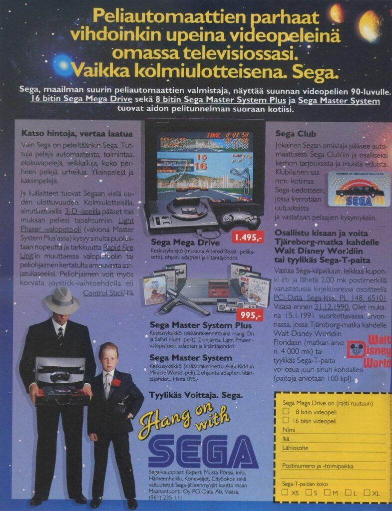 Kuva 8. Sega kilpaili Nintendon kanssa myös lehtimainoksissa. Sega korosti esimerkiksi yhtiön osaamista peliautomaattien puolella. MB 10/1990, 10.