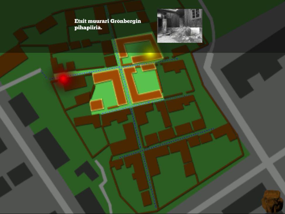 Kuva 5: Kääntäessään mobiililaitteen vaakatasoon pelaaja saa esille museoalueen kartan, merkin omasta sijainnistaan ja käsillään olevaan tehtävään liittyviä vihjeitä.