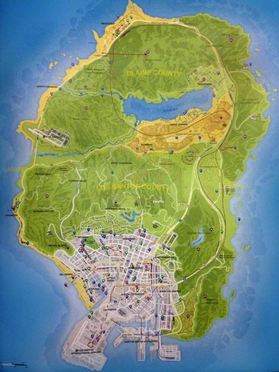 Kuva 3. San Andreasin kartta. Lähde: GTA Myths Wiki 2016.