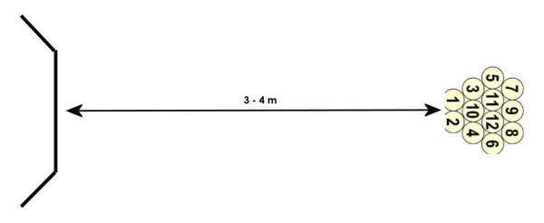 Kuvio 1. Mölkky koostuu kahdestatoista numeroidusta puukeilasta tai 'mölkystä', joita pyritään kaatamaan heittokapulalla. 'Pakka' tehdään 3–4 metrin päähän heittopaikasta. Heittoaluetta rajoittaa 'mölkkykaari' tai lyhyemmin 'mölkkaari'.