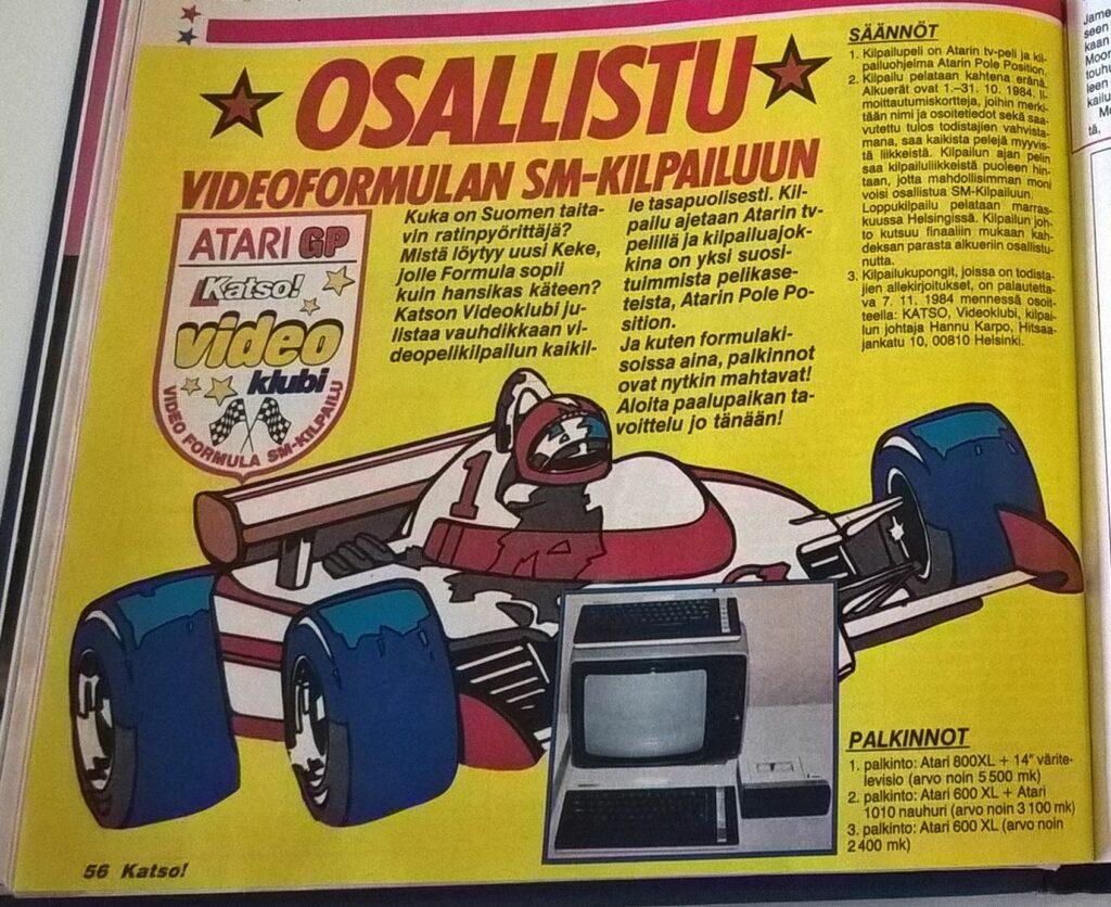 Kuva 3. Videoformulan SM-kisojen mainos Katso-lehdessä 1984.