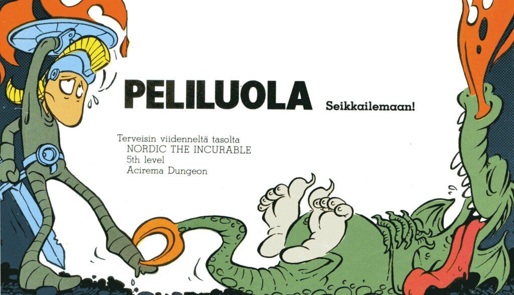Kuva 6. Peliluola-palstan kuvitusta, MikroBitti 3/1985.