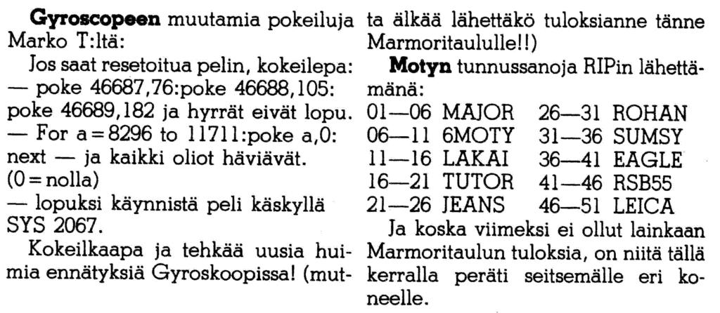 Kuva 8. Huijauskoodeja Peliluolasta. MikroBitti 11/1986, 47.