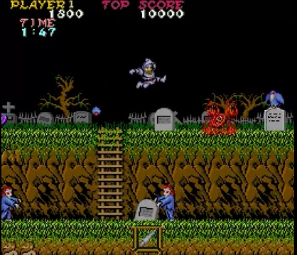 Kuva 1. Ghosts 'n Goblinsin ensimmäinen kenttä.