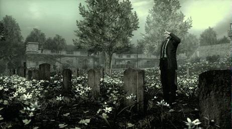 Kuva 2: Arlingtonin sotilashautausmaa Metal Gear Solid 4:ssä.