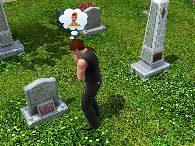 Kuva 3. Surua edesmenneen pelihahmon haudalla, The Sims 4.