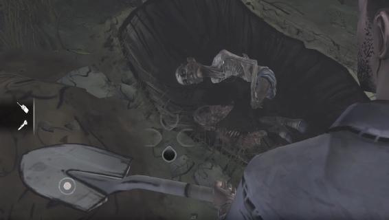 Kuva 8. Pelaajahahmo hautaa zombia The Walking Dead -pelissä.