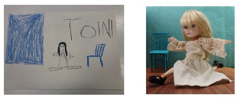 Kuva 10. Esikoululaisen piirtämä kuva Sigrid-nuken kuvasta (vasemmalla) ja varsinainen valokuvateos (oikealla).