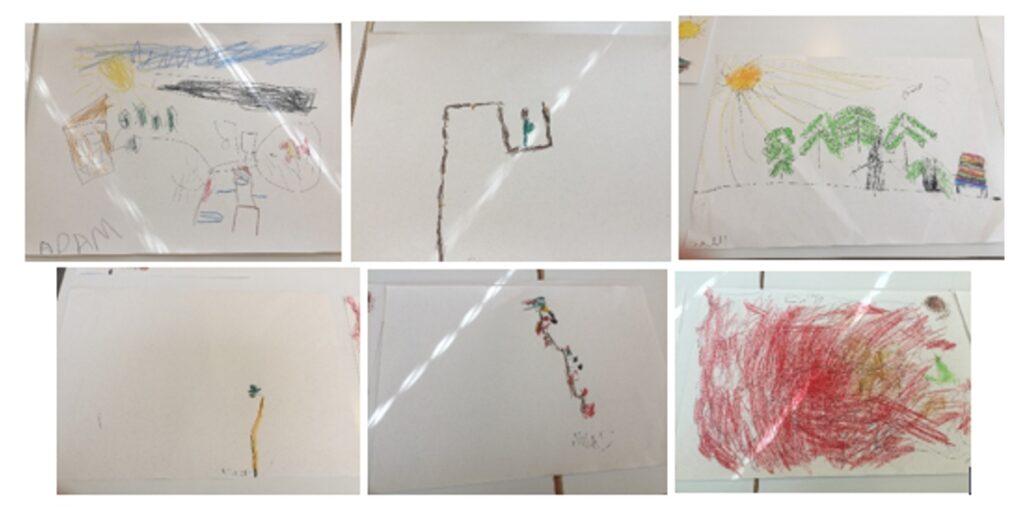 Kuva 9. Sarja kuvia geokätköilyreitistä ja sen varrella koetuista asioista ja ilmiöistä esikouluikäisten lasten piirtäminä.